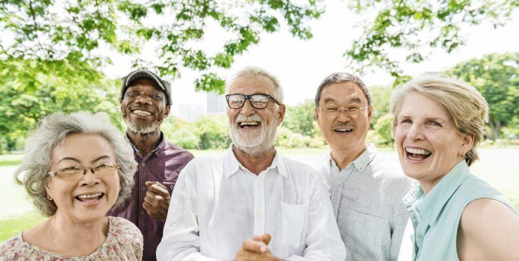 a group of senior friends laughing